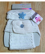 Stepping Stones Crown and Diaper Cover (white) - $10.00