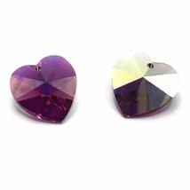 4 pcs Swarovski 6202 Crystal Heart Pendant 14mm pink FUCHSIA AB *Clearan... - $6.08