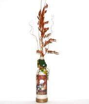 Wine Themed Decorated Bottle Grape Cluster Handmade Beige Cat Cheese Hom... - $18.00