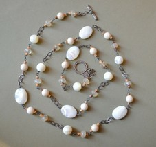Silpada sterling silver necklace long bead & chain mop quartz crystal shell - $45.53