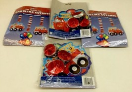 Lot of 4 Fire Engine Truck Fun Dangling Cutouts Party Decorations Kids Bday - $26.27 CAD