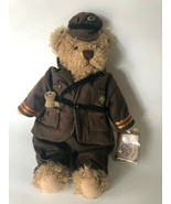 "Rare Ganz Good Luck  Brown Bear Military Deployment Toy Irish Shamrock 14"" - $25.00"