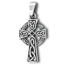925 Sterling Silver Celtic Knot Cross Pendant Free Silver Box Chain - $27.71