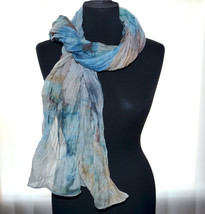 Womans scarf silk cotton hand painted scarf multicolored blue begie brow... - $32.00