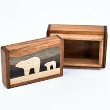 Northwoods Wooden Parquetry Polar Bear Mom & Cub Mini Trinket Box
