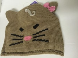 Girls Winter Hat Animal Design Tan Knit With Pink Bow On Ears Kids - $9.54