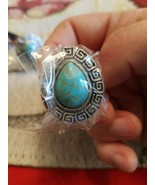 Silver and Turquoise Ring Adjustable S8 - $35.99