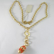 Necklace Silver 925 Yellow Gold Plated with Pendant Milled and Carnelian - $250.24