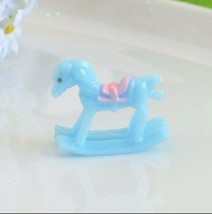 6 Mini Blue Baby Shower Rocking Horse Favors Cake Toppers Boy Gender Reveal - $6.25