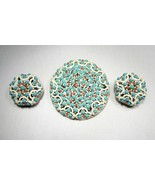 Vintage Heavy Metal Beaded Round Painted Brooch & Earrings Set C2577 - $21.19