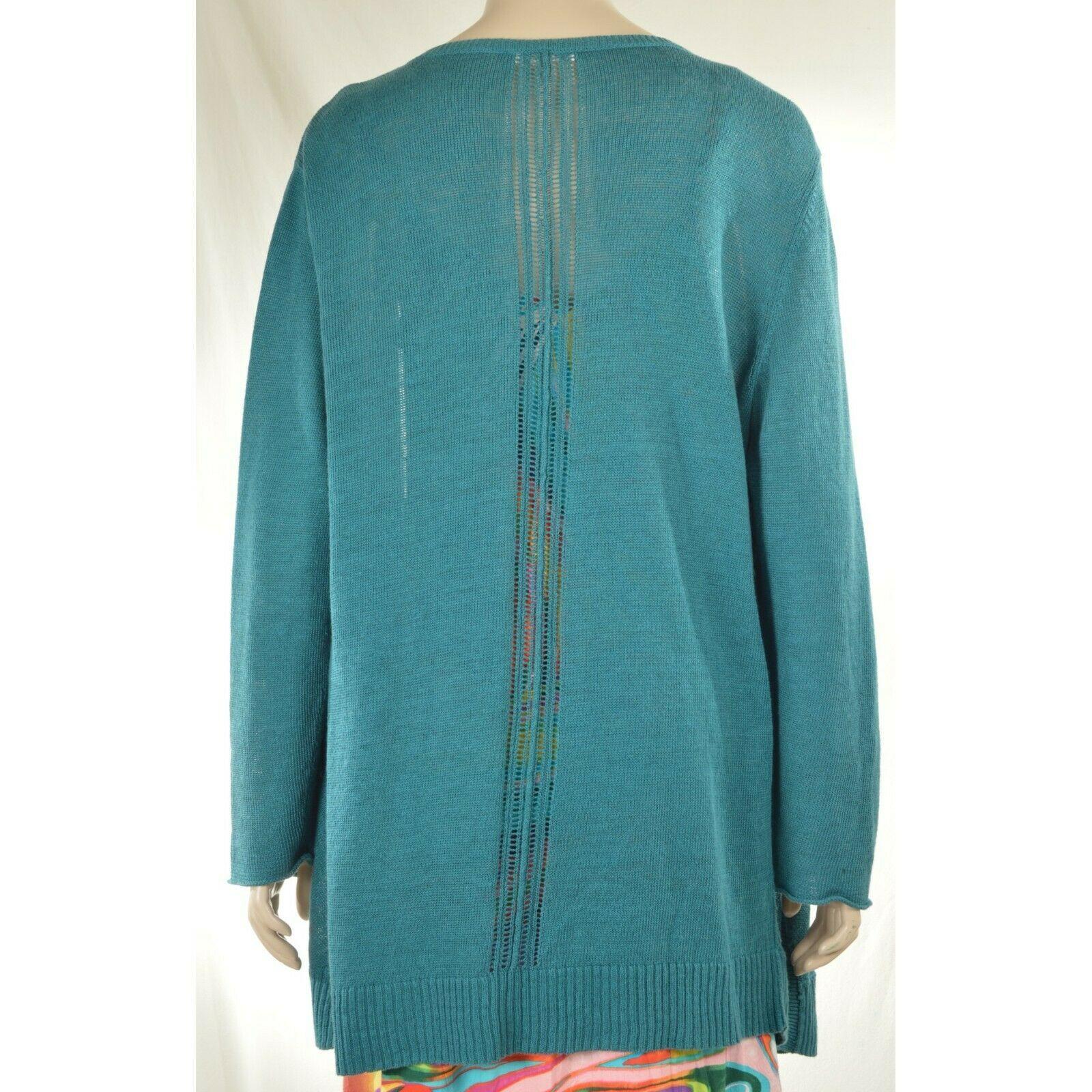 Eileen Fisher sweater cardigan SZ L teal 100% linen knit pockets soft long s image 10