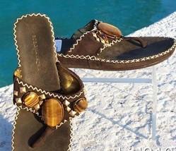 Bcbg Maxazria Tiger Eye Stones Suede Shoe New 5.5 6 Flat Sandal Thong $225 Nib - $90.00