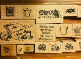 Rare Stampin Up Little By Little Gardening Flower Pot Planting Birds Rubber 1994 - $31.66