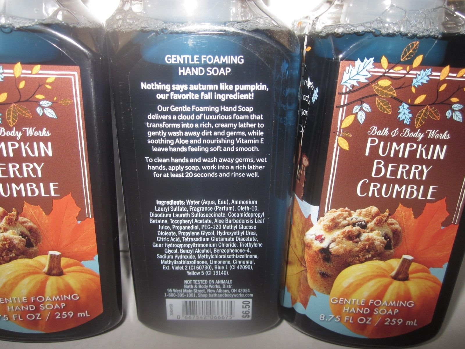 3 Bath & Body Works Gentle Foaming Hand Soap Pumpkin Berry Crumble