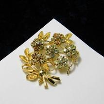 Vintage Coro Brooch 5 Flower Rhinestone Bouquet DES.PAT.PEND Pin Costume Jewelry - $37.14