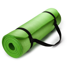Exercise Mat Thick HD Foam GREEN Yoga Floor Pilates Stretching Gym Worko... - $27.86