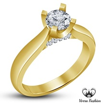 Round Cut White CZ Yellow Gold Plated 925 Solid Silver Engagement Solita... - ₹5,168.58 INR