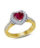Yellow Gold Over Real 925 Silver Heart Shape Pink Sim Diamond Engagement... - $52.38