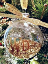 Gold Initial Monogram Clear Ornament  - $14.00