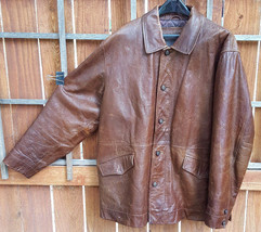 TIMBERLAND Weather Gear Leather Coat/Jacket-Brown-L-Quilt Lined-Nice But... - $121.54