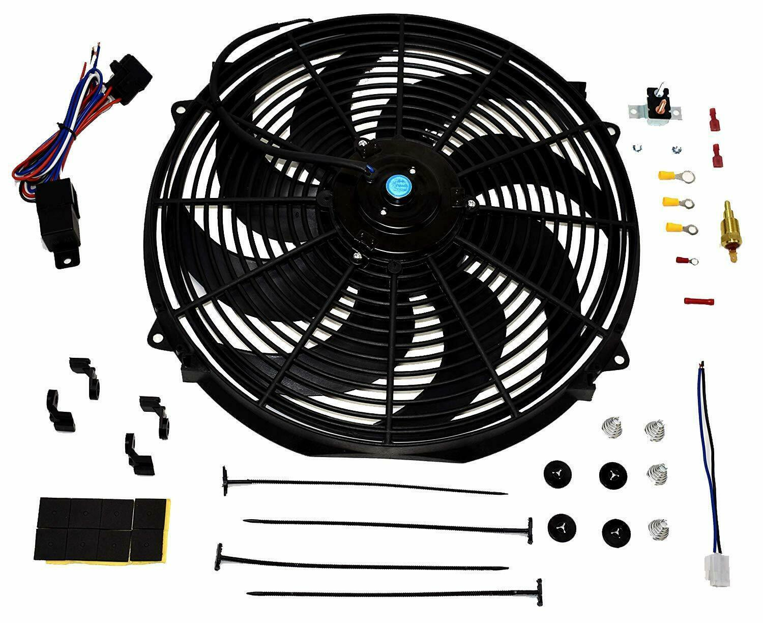 "16"" Electric Curved 8 Blade Reversible Cooling Fan 3000CFM Thermostat Kit"