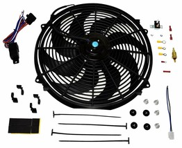 "16"" Electric Curved 8 Blade Reversible Cooling Fan 3000CFM Thermostat Kit image 1"