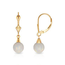 6 mm Ball Shaped White Fire Opal Leverback Dangle Earrings 14K Yellow Gold - $72.52