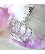 KLEO Crown Pendant Necklace * Signity CZ 925 Sterling Silver Adj Chain 1... - $79.19