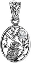 Night Owl On Branch Cubic Zirconia Moon .925 Sterling Silver Pendant - $86.62