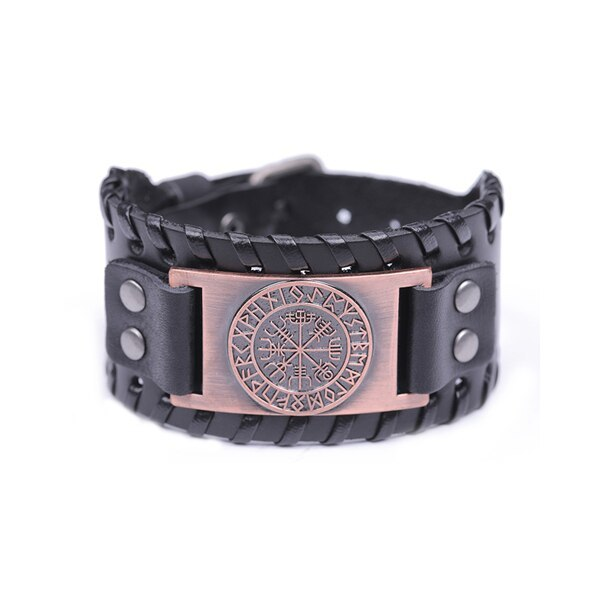 Primary image for Teamer Wide Leather Bracelets Vintage Nordic Viking Rune Vegvisir Compass Charm