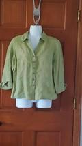 Woman Jm Petite 100%LINEN Green Embroidered Button Front Shirt, Top, Sz 4P, 3/4 - $7.56