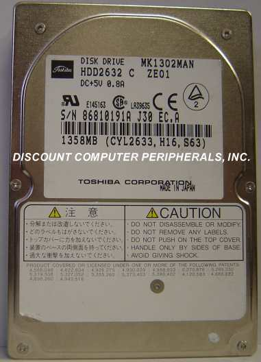 "1.3GB 2.5"" 19MM IDE Drive Toshiba - MK1302MAN HDD2632 Tested Free USA Ship"