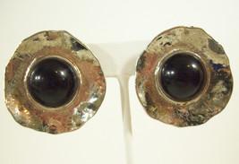 NORMA JEAN Jet Black Cab Clip Earring Fluted Silver Plate Big Vintage Es... - $15.79