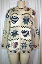 Woolrich Sz S Beige Country Hearts Stars Pattern Womens Cardigan Sweater - $15.78