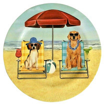 """Melamine Dinner Plates 11"""" Dogs Dog at the Beach Umbrella Chairs Set of 4 - $33.96"""