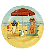 """Melamine Dinner Plates 11"""" Dogs Dog at the Beach Umbrella Chairs Set of 4 - £24.33 GBP"""
