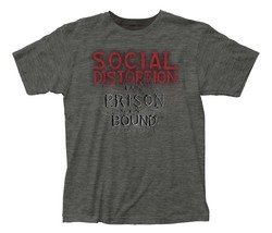 Social Distortion Prison Bound Heather Charcoal T-Shirt Licensed Band Te... - $21.00