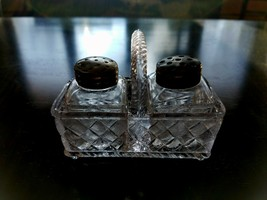 Imperial Glass 428 Double Basket Woven Handle with Shakers Clear EAPG - $18.90