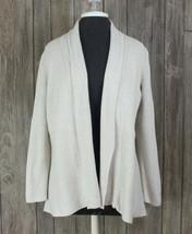 Talbots Cardigan Sweater M size Beige Oatmeal Gray Womens Open Front Wor... - $16.82