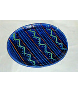 "Oval Salad Plate Earthworks Barbados Studio Pottery Blue Waves 10 x 7 1/2"""" - $14.25"