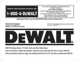 Dewalt Table Saw  Instruction Manual Model #DW745 - $10.88