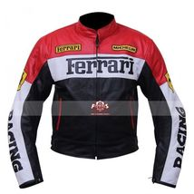 Multi Color Handmade Men's Ferrari Motorcycle Leather Jacket - $158.95+