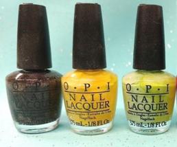 OPI 3pc 1/8 oz Mini Nail Polish Lacquer Set Green Yellow Gray Silver Gli... - $6.56