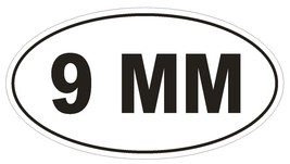 9 MM Oval Bumper Sticker or Helmet Sticker D2005 Euro Oval Gun Pistol Weapon - $1.39+