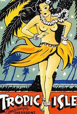 Primary image for 1940's Tropic Isle - Hawaii - Matchbook Advertising Poster