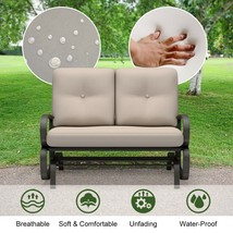 Outdoor Patio Cushioned Rocking Bench Loveseat - $240.00