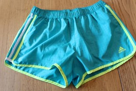 A3945 womens ADIDAS sea green DAY GLOW yellow RUNNER jogging brief lined... - $17.35