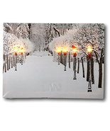Snowy Pathway Print - LED Lighted Picture with Winter Scene - Black Lantern Ligh - $14.99