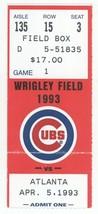Atlanta Braves vs Chicago Cubs OPENING DAY 4/5/93 Ticket Stub! Greg Madd... - $12.86