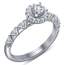 Womens Engagement Anniversary Ring 14k White Gold Plated 925 Silver Roun... - $69.97